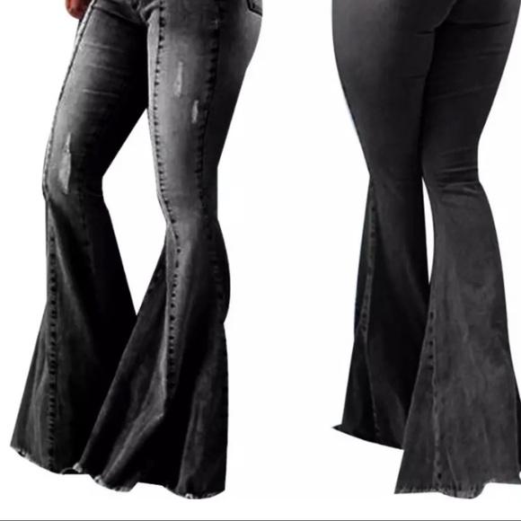 no brand juat style Pants - NWT- Super Flared Black Elastic Waist Pants/Jeans